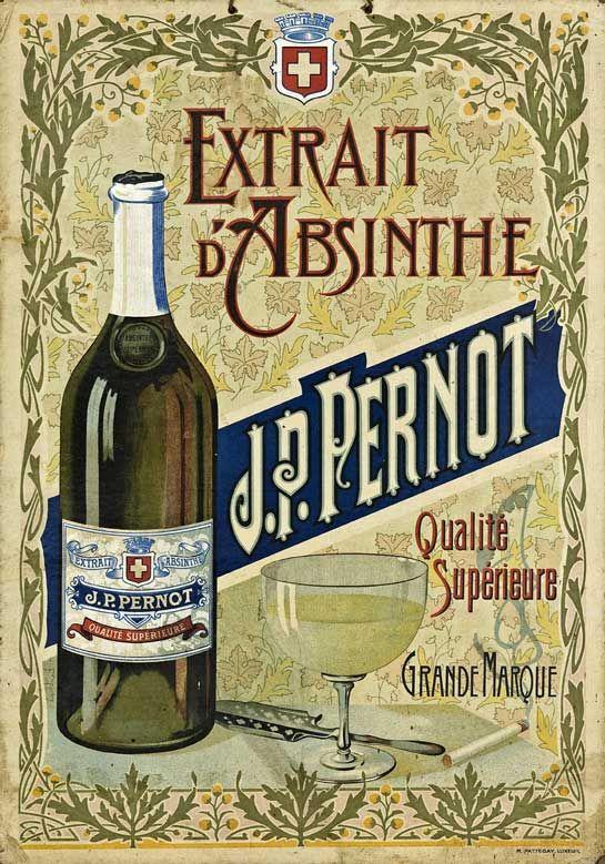Absinthe Chromos at The Virtual Absinthe Museum: Pernod Fils, Absinthe Bourgeois Chat Noir