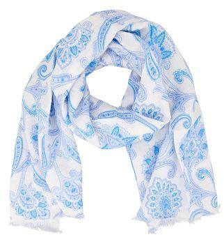 Sommerlicher Schal in Etro-typischem Paisleymuster in Blau auf weißem Untergrund. Das Leinenmaterial lässt sich im Sommer sehr angenehm tragen und peppt einen schlichten Pullover optimal auf. Ideal auch als Geschenk!