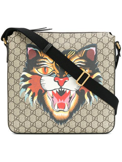 2185c68062bf GUCCI Angry Cat print GG Supreme flat messenger bag. #gucci #bags #shoulder  bags #leather #