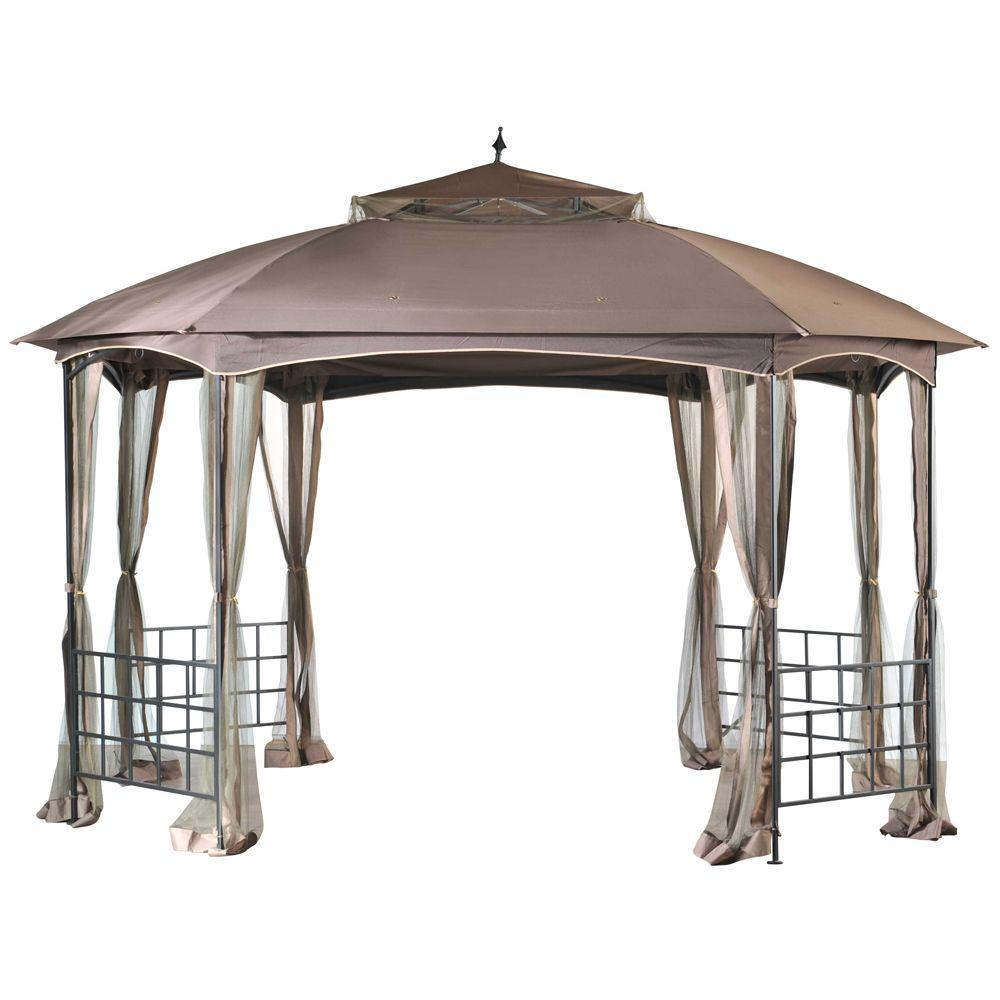 Sunjoy Hexton 12 Ft X 10 Ft Brown Octagon Soft Top Gazebo With Mosquito Netting L Gz660pst Gazebo Canopy Patio Gazebo Outdoor Gazebos