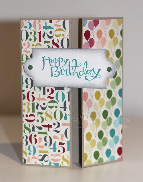 Stampin' Up Gatefold birthday card  Birthday Basics DSP Sue