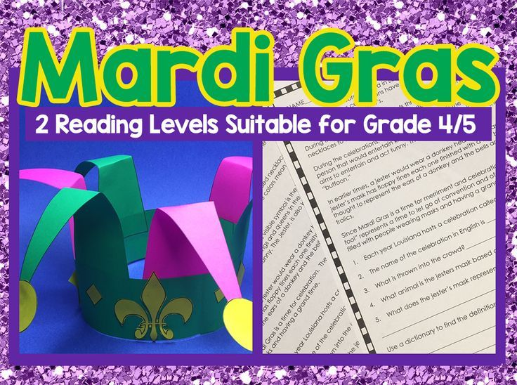 Mardi Gras Reading Activity 2 Levels And Jester Hat Craftivity Perfect For Grades 4 And 5 Nonfiction Texts Language Art Activities Craftivity