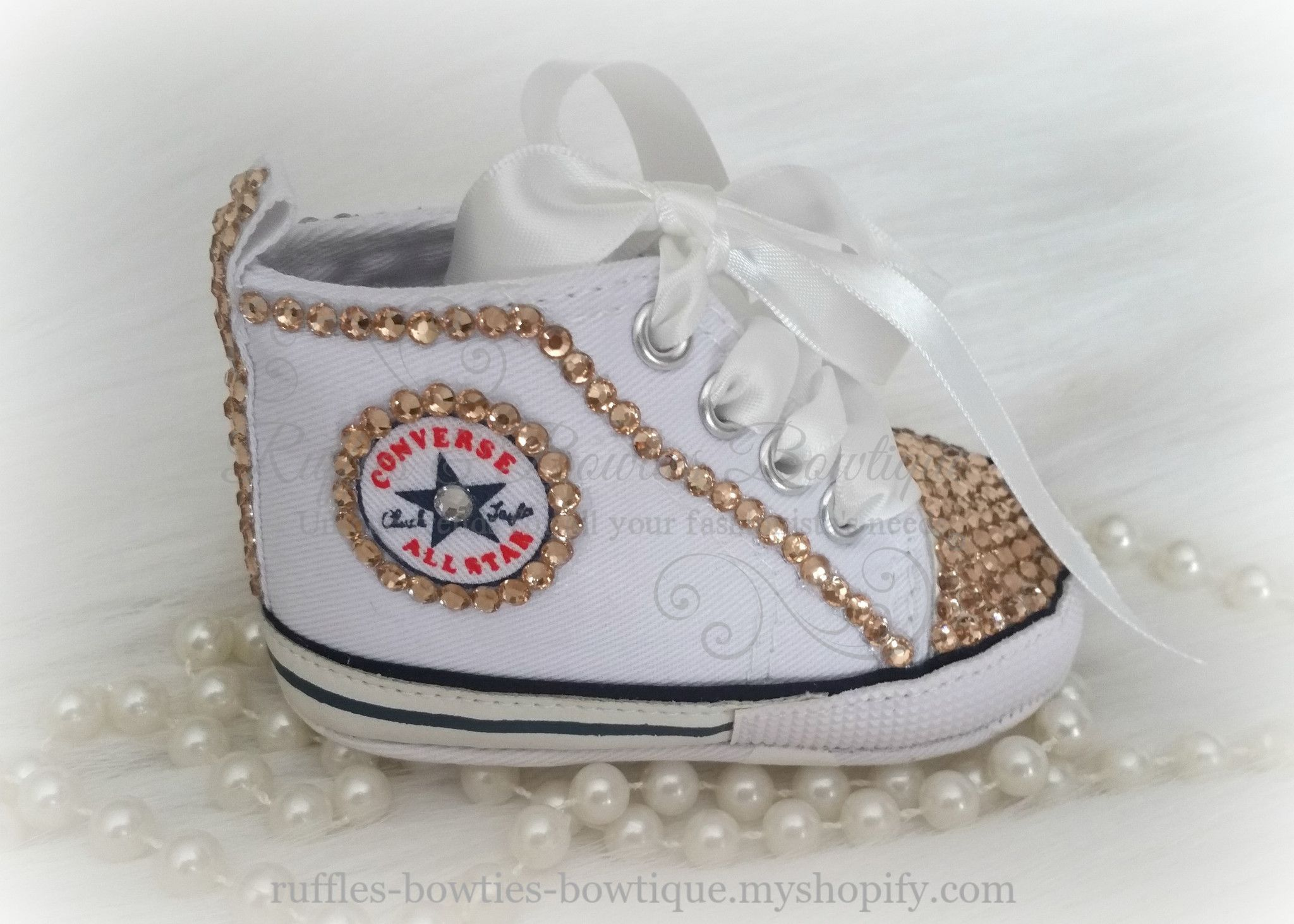 146860e8cdd0 White Crystal Baby Converse High Tops - Crystal Shoes - Pre Walker Shoes -  Baby Girl Shoes - Wedding - Christening - Baptism - Baby - Gold Crystals