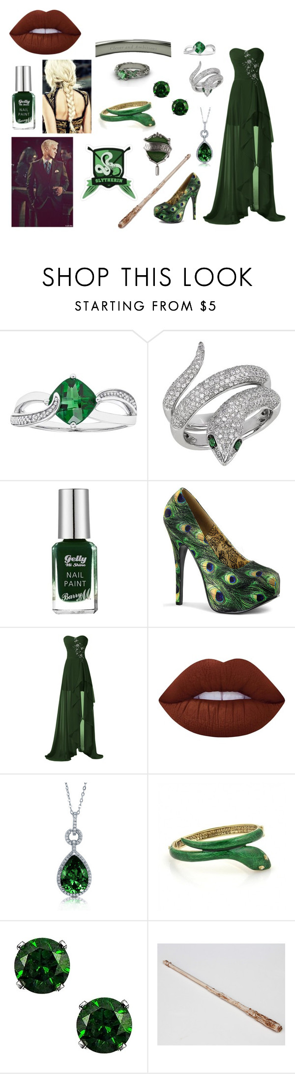 Yule Ball - Slytherin by haleyd13 on Polyvore featuring Bordello, Effy Jewelry, BERRICLE, Lime Crime and Barry M