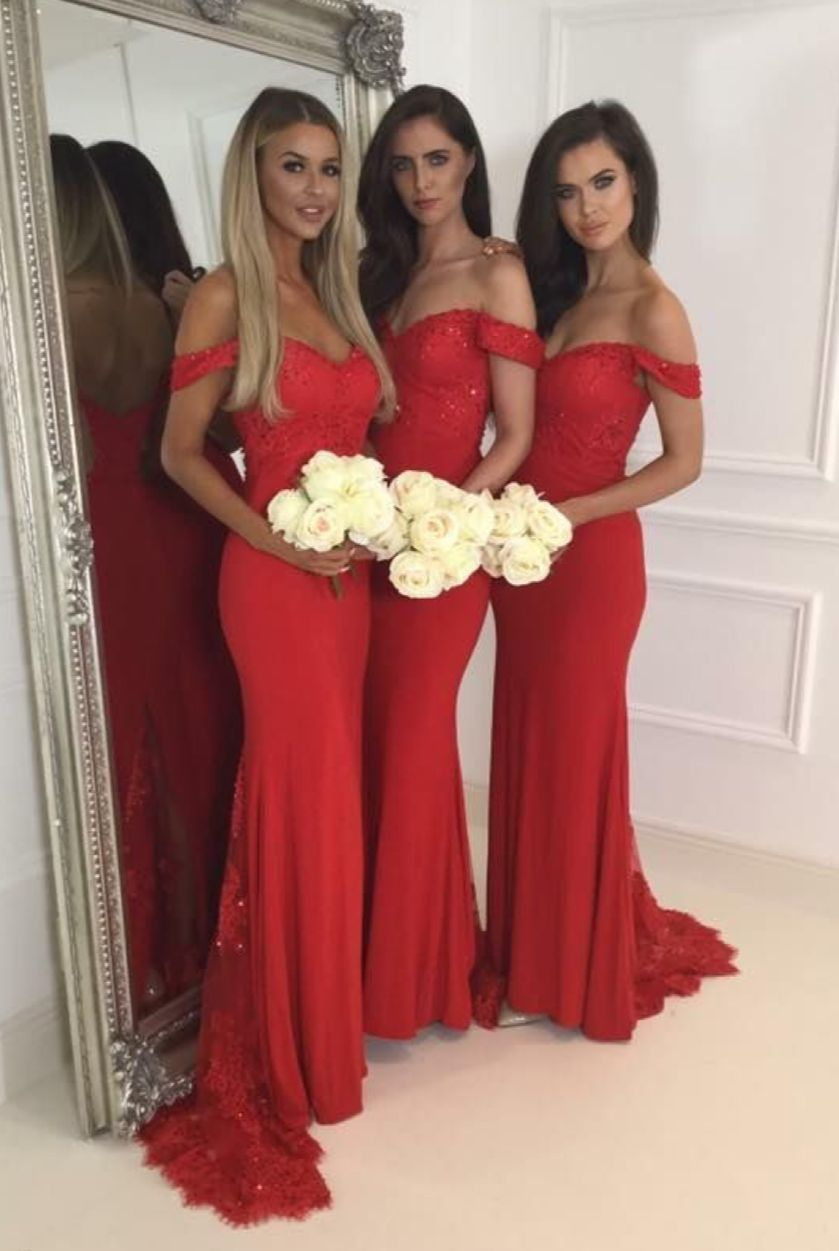 Red jersey lace off the shoulder sweetheart cap sleeves mermaid red jersey lace off the shoulder sweetheart cap sleeves mermaid sweep train bridesmaid dresses red ombrellifo Image collections