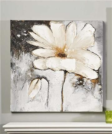 White flower oil painting on canvas i think the abstract shape of white flower oil painting on canvas i think the abstract shape of the pedals would bother mightylinksfo