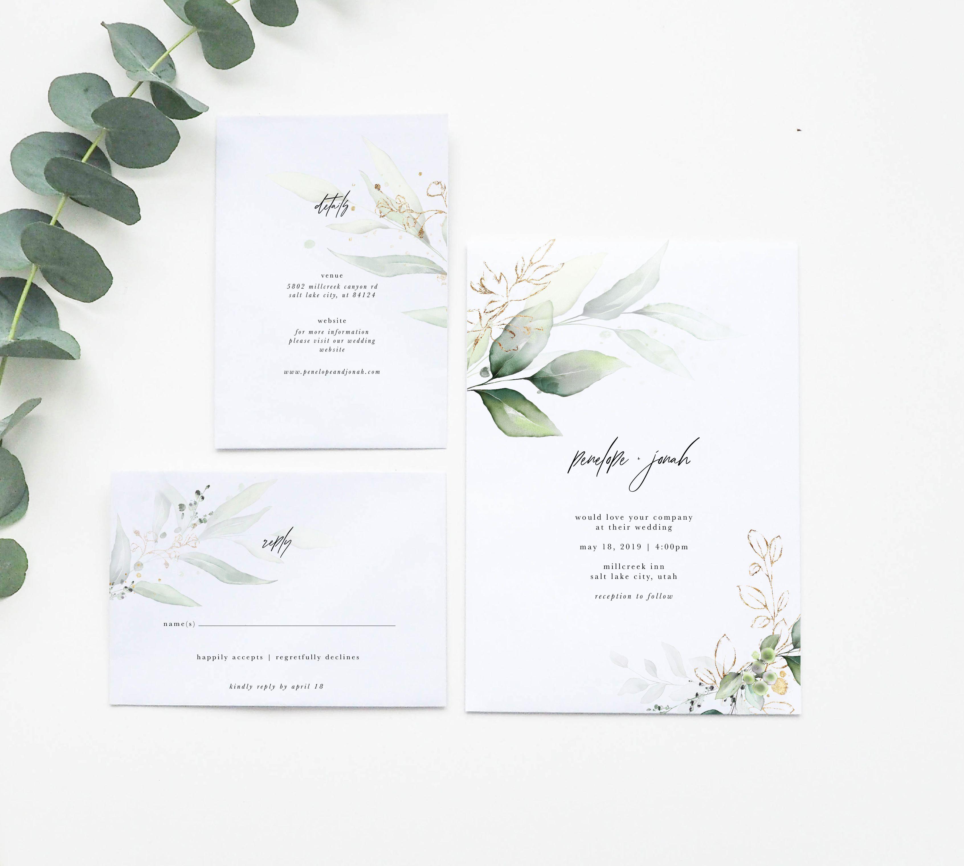 Simple Wedding Invitation Greenery Wedding Invitation Wedding Invitation Greenery Wedding Invitations Etsy Wedding Invitations Minimal Wedding Invitation