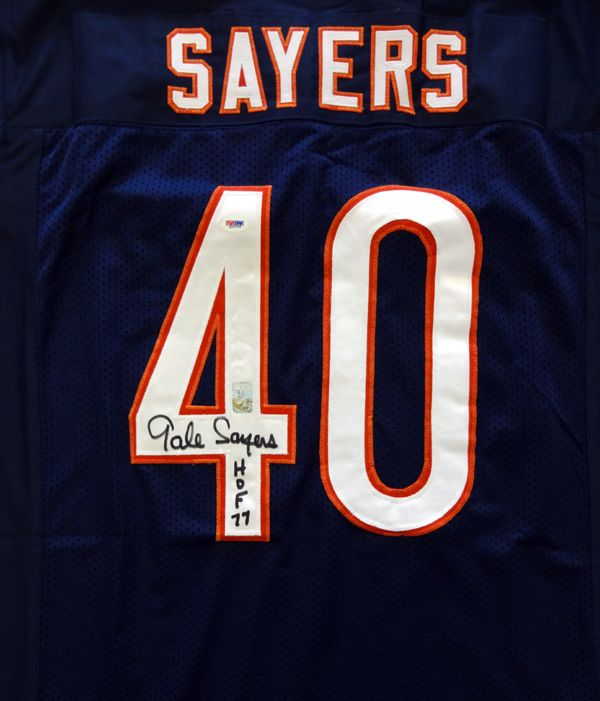 This is a Chicago Bears Jersey that has been hand signed by Gale Sayers. It has been authenticated by PSA/DNA and comes with their tamper-proof sticker and matching certificate of authenticity. Gale S