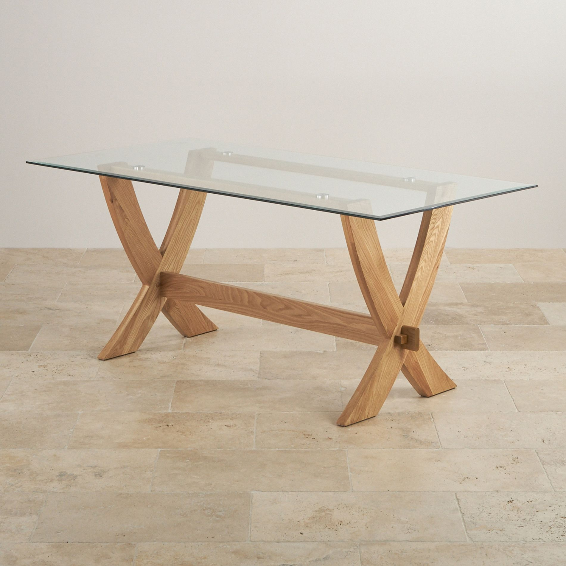 Glass And Natural Solid Oak Dining Tables 8 Seater Dining Table