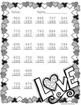 3 nbt 2 valentine 39 s day themed 3 digit subtraction with regrouping matek 3 oszt ly math. Black Bedroom Furniture Sets. Home Design Ideas