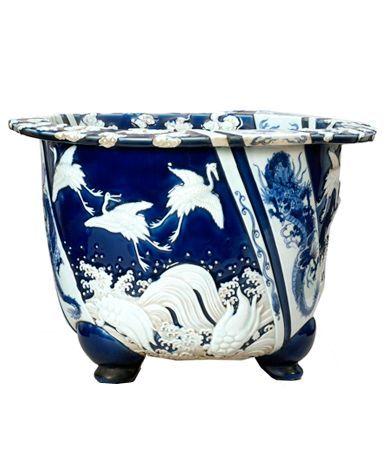 Jardiniere Japan Ca 1860 1862 Glazed Porcelain Ceramique Porcelaine