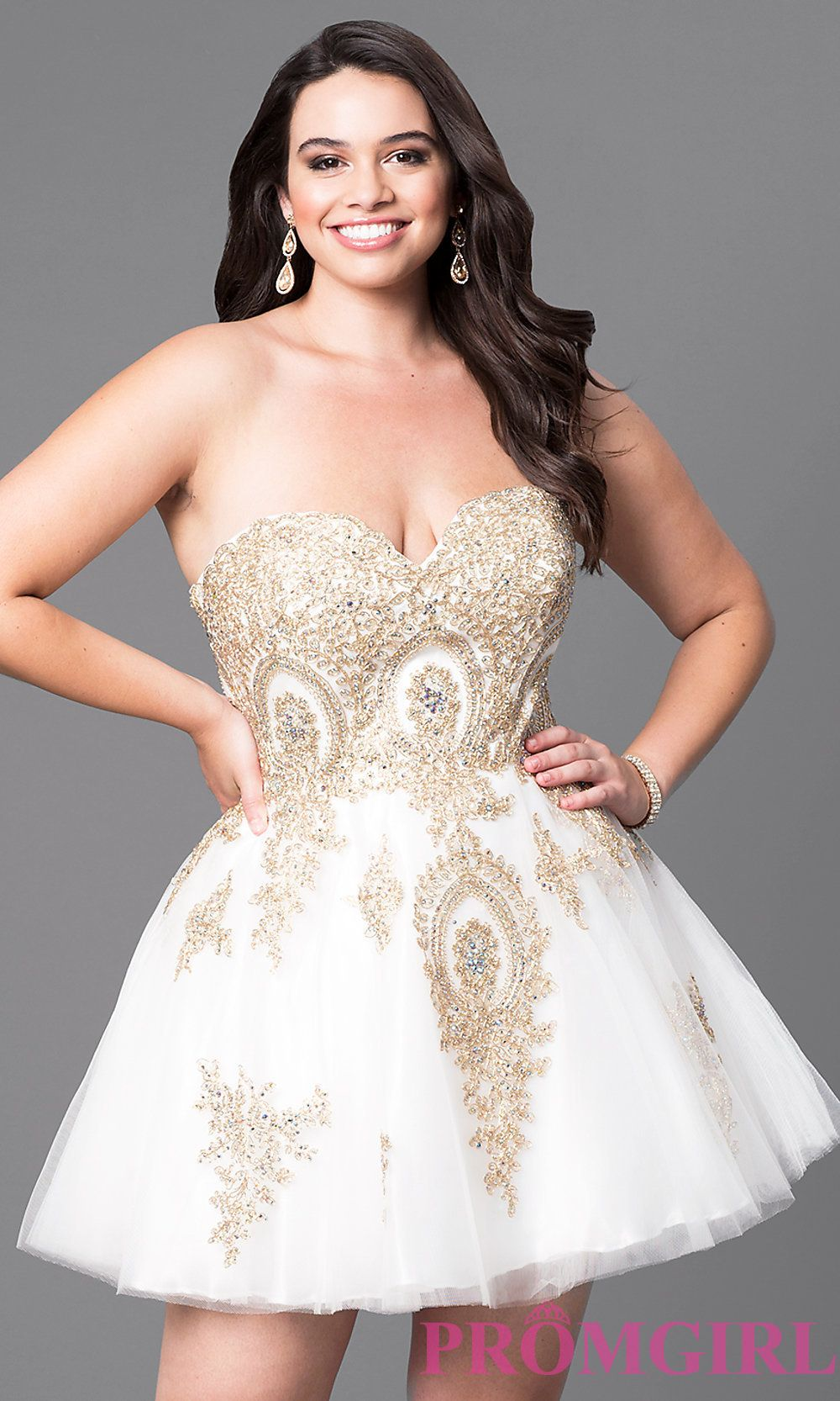 f8ff9995a Plus-Size Strapless Short Homecoming Dress with Lace