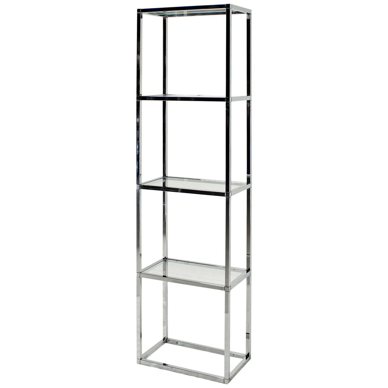 narrow and tall midcentury modern chrome and glass etagere shelf  - narrow and tall midcentury modern chrome and glass etagere shelf