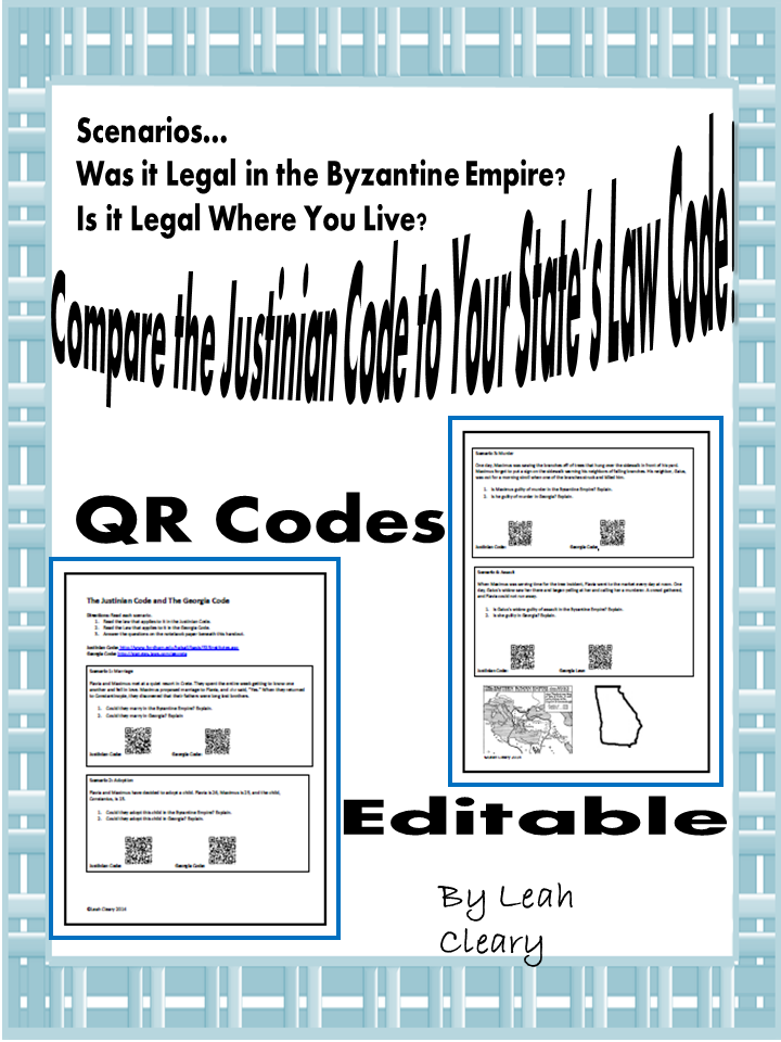 Compare the Justinian Code to Your Law Code – Justinian Code Worksheet