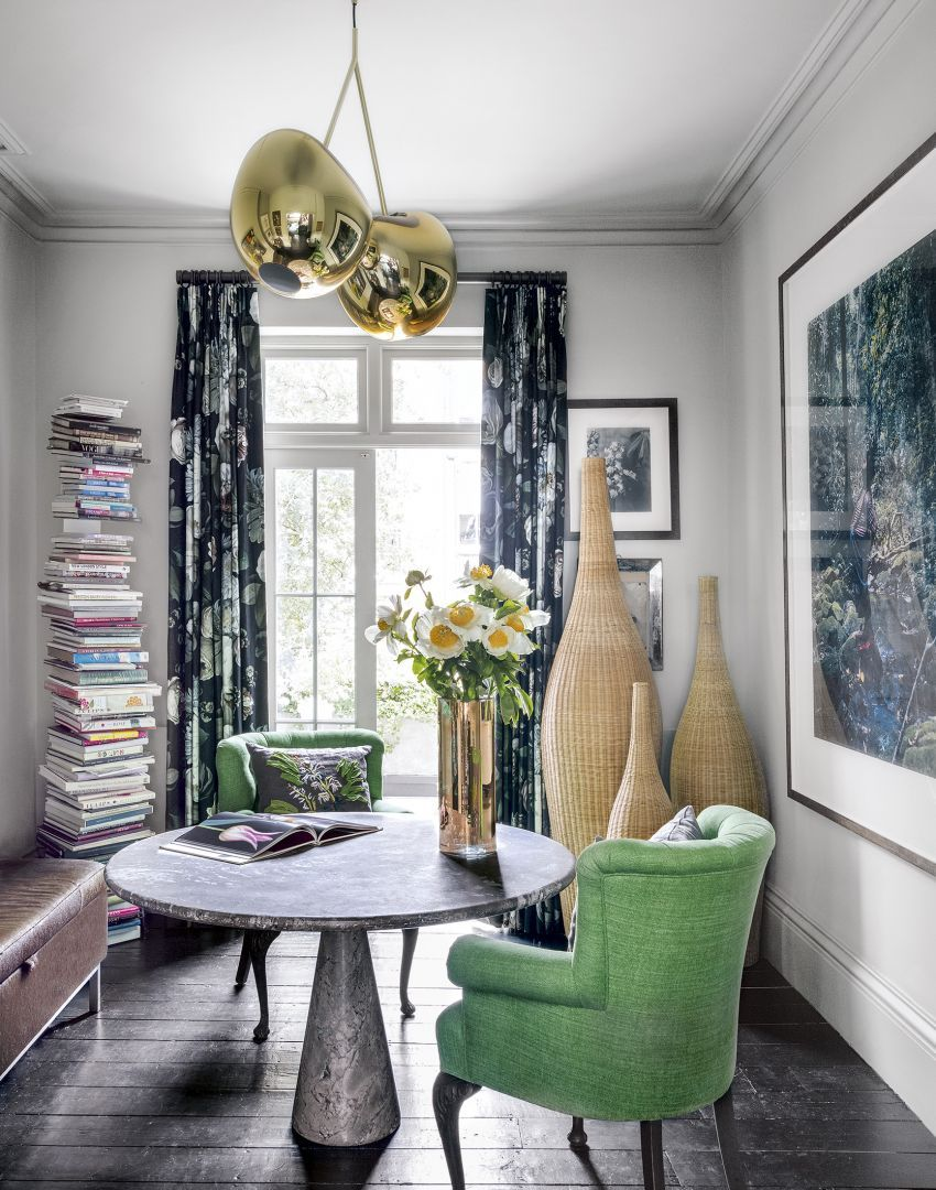 Modern Home Office with Green Armchairs and Round Table - The Room
