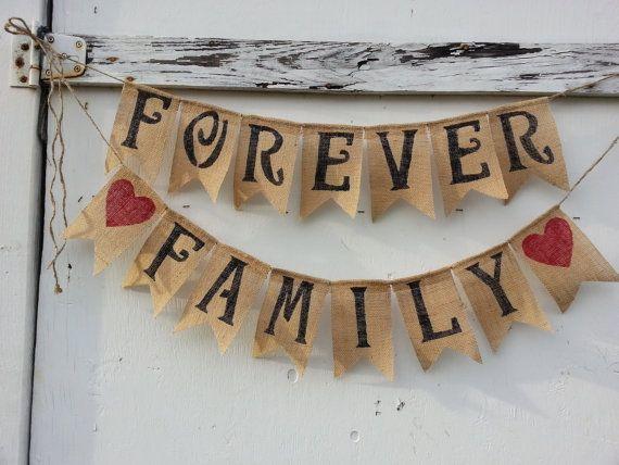 Burlap Banner Forever Family Adoption Party Adoption Day Adoption Photos