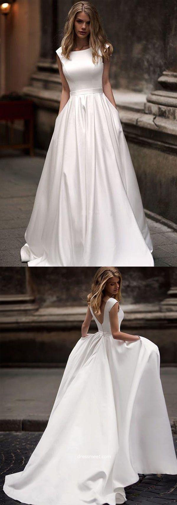 Vintage A-Linie Prinzessin Elfenbein Satin Lange Brautkleider mit Taschen WD328 – New Ideas
