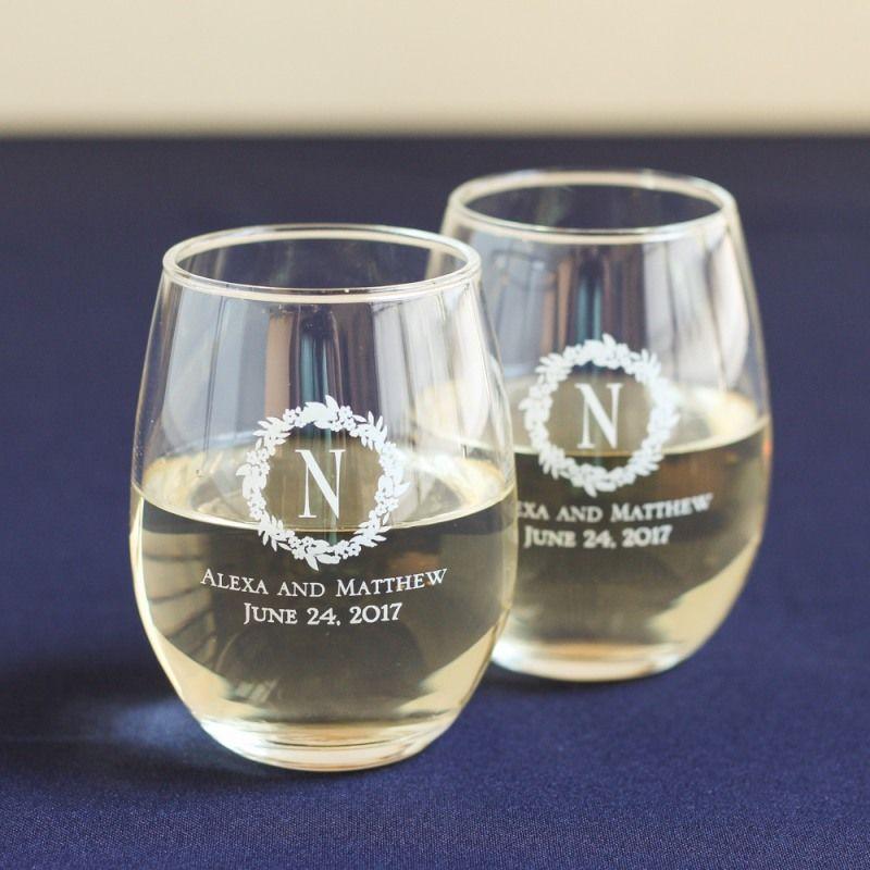 Personalized 9 Oz Stemless Wine Glass Wine Glass Favors