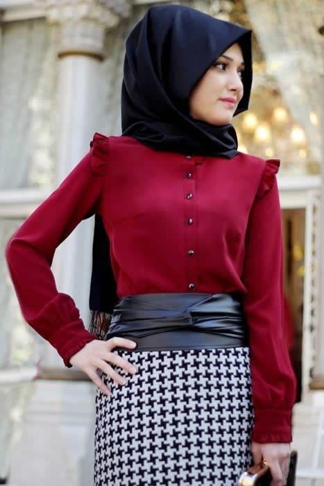 86d02da816d24 Şık Bluz Bordo Tesettür Giyim Kombinleri | Moda | Elbise modelleri ...