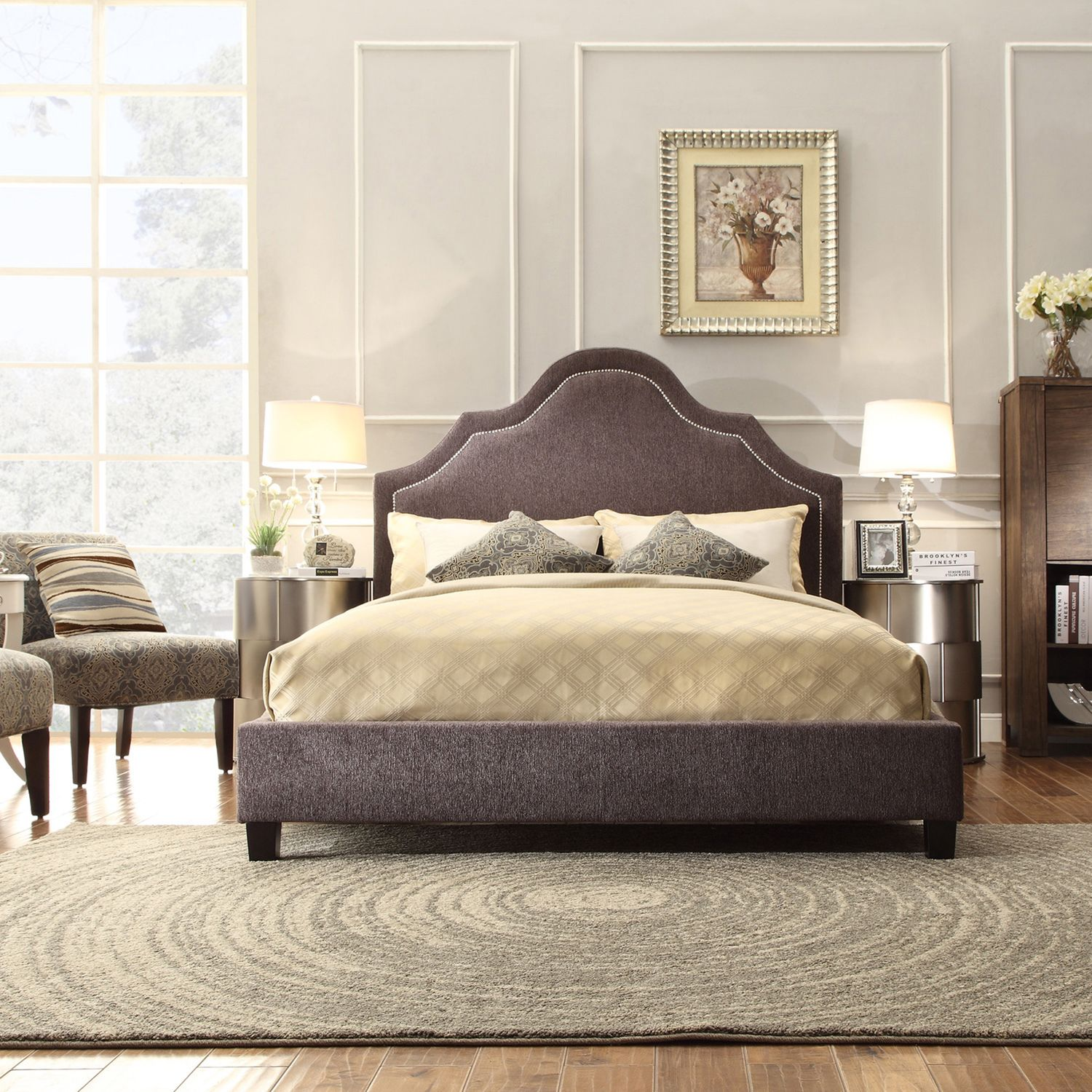INSPIRE Q Fletcher Dark Grey Chenille Nailhead Arch Curved Upholstered Bed  by iNSPIRE Q