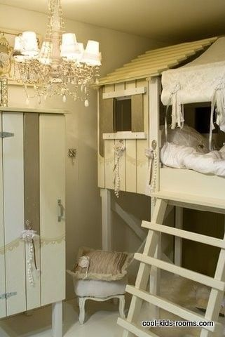 Such a cute idea. I've also seen it with the play house one the ground and the bed was on the roof.