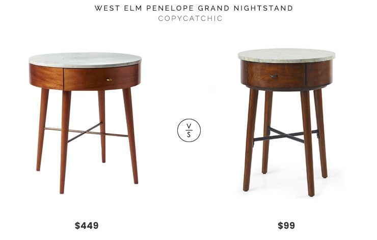 West Elm Penelope Grand Nightstand Acorn With Marble Top 449 Vs