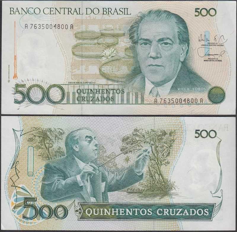Brazil 500 cruzeiros 1988 212d notas fotos de