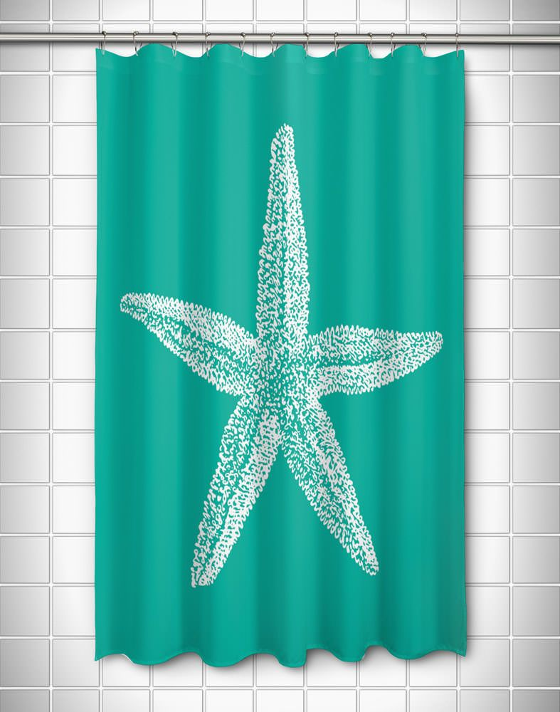 Vintage Starfish Shower Curtain   White On Aqua