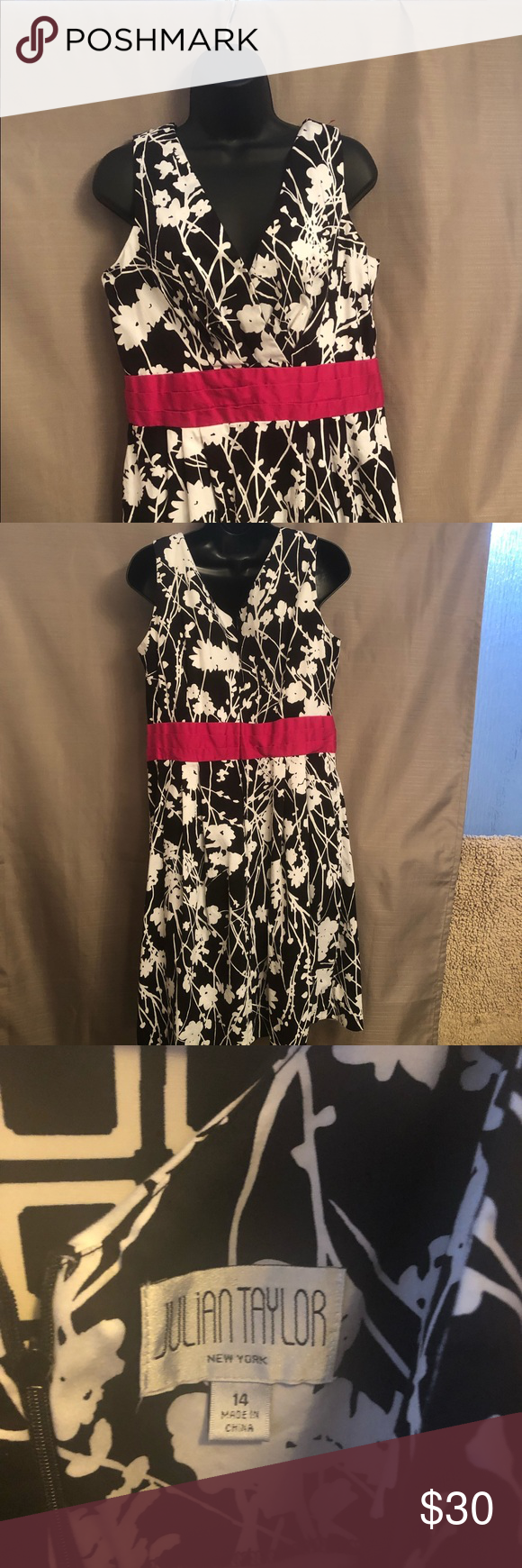 Julian Taylor Black and white dress Black and white dress with pink banded waist, size 14, like new. Zipper in the back. Perfect for a summer dinner! Julian Taylor Dresses Midi #summerdinneroutfits