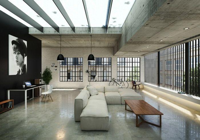 Wohnzimmer Einrichten Beispiele : Wohnzimmer einrichten beispiele ecksofa holztisch ziegelwand