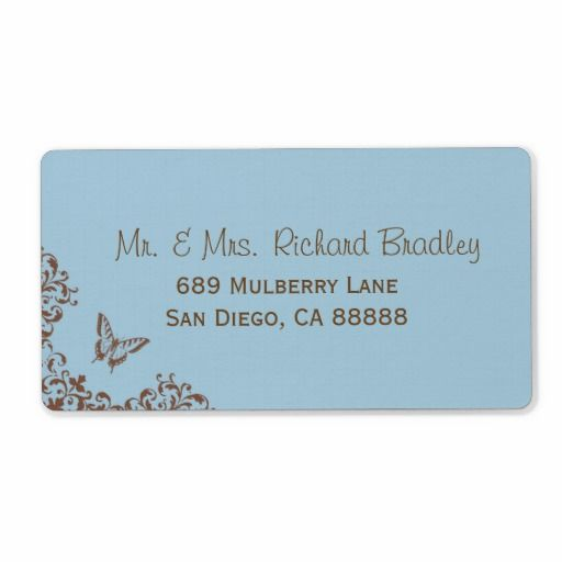 Chocolate and Blue Butterfly Return Address Labels