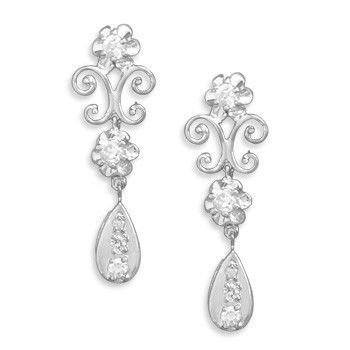 Rhodium CZ Post Earrings with Scroll Design and CZ Drop