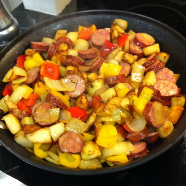 Made this last night (3/12/13) and it was SO yummy and easy for a weeknight meal. Made with turkey keilbasa from Whole Foods for a bit less fat. Will make this again for sure.