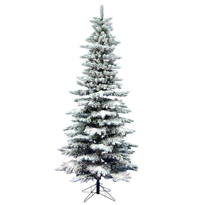 Flocked Slim 10 Fir Artificial Christmas Tree Unlit Slim Artificial Christmas Trees Slim Christmas Tree Vickerman Christmas Tree