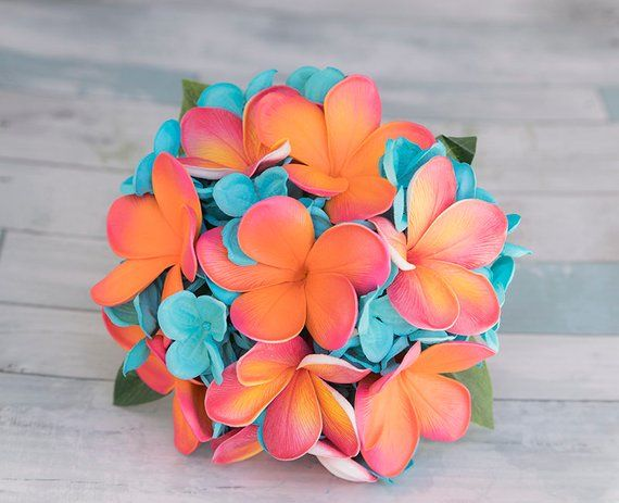 Silk Wedding Bouquet - Turquoise Coral Fuchsia Teal Real Touch Plumerias and Hydrangeas Silk Flower Bridal Bouquet #turquoisecoralweddings