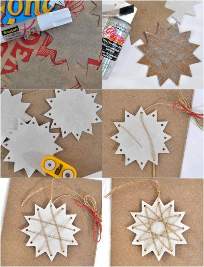 Weihnachtsdeko Selber Basteln weihnachtsdeko selber basteln karton sterne juteschnur anleitung