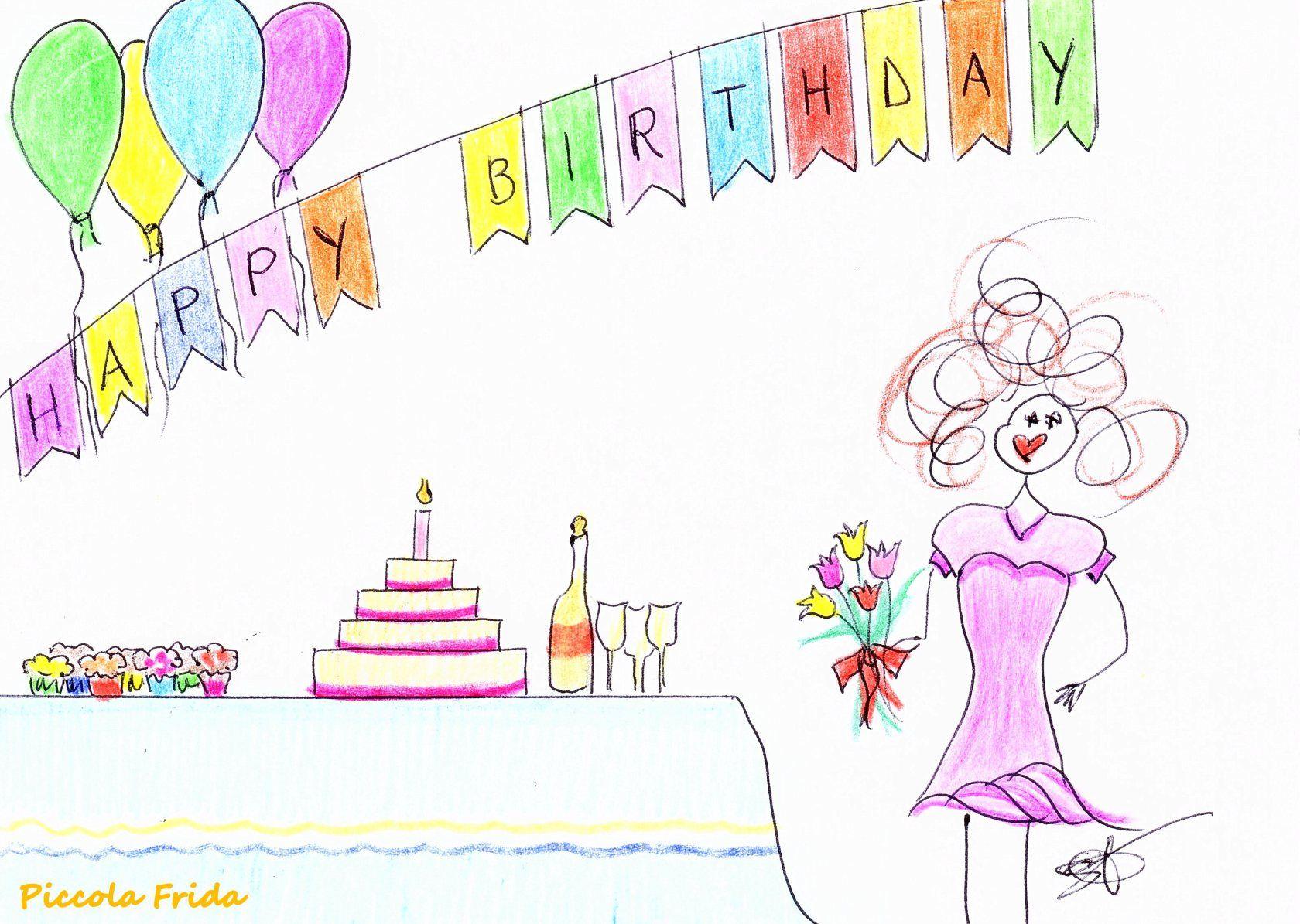 Piccola Frida Disegno Compleanno Happy Birthday Illustrazione