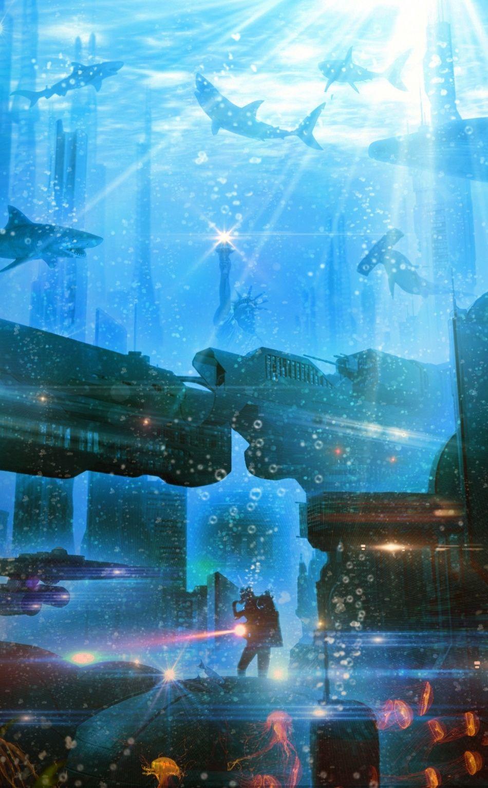 Underwater City Atlantis 950x1534 Wallpaper Underwater City Cityscape Wallpaper Lost City Of Atlantis