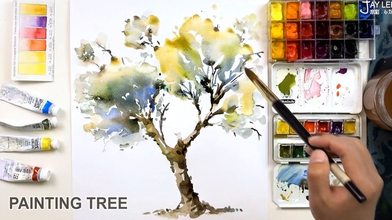 How To Paint A Tree With Watercolors Easy Quick Youtube