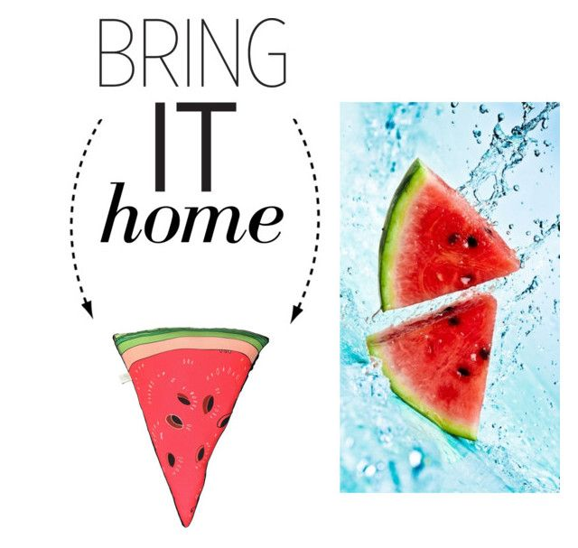 """Bring It Home: Watermelon Throw Pillow"" by polyvore-editorial ❤ liked on Polyvore featuring interior, interiors, interior design, home, home decor, interior decorating, Silken Favours and bringithome"