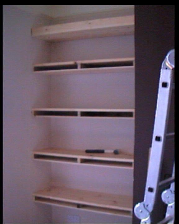 homemade shelves | alcove shelving ideas