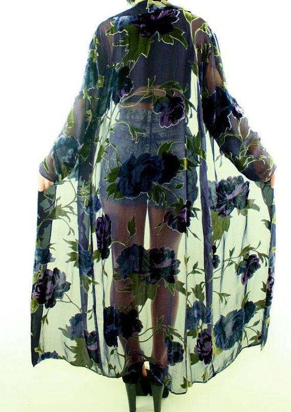 Long blue purple rose   devore hippy   BURNOUT Boho  Kimono Jacket duster robe coat