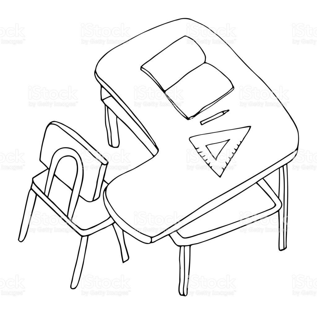 School Desk With Chair Open Book Pen And A Triangle Ruler School Desks Triangle Ruler Chair