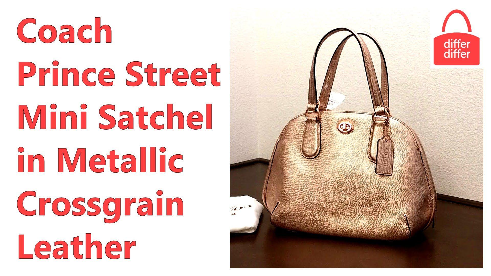 Coach Prince Street Mini Satchel in Metallic Crossgrain Leather