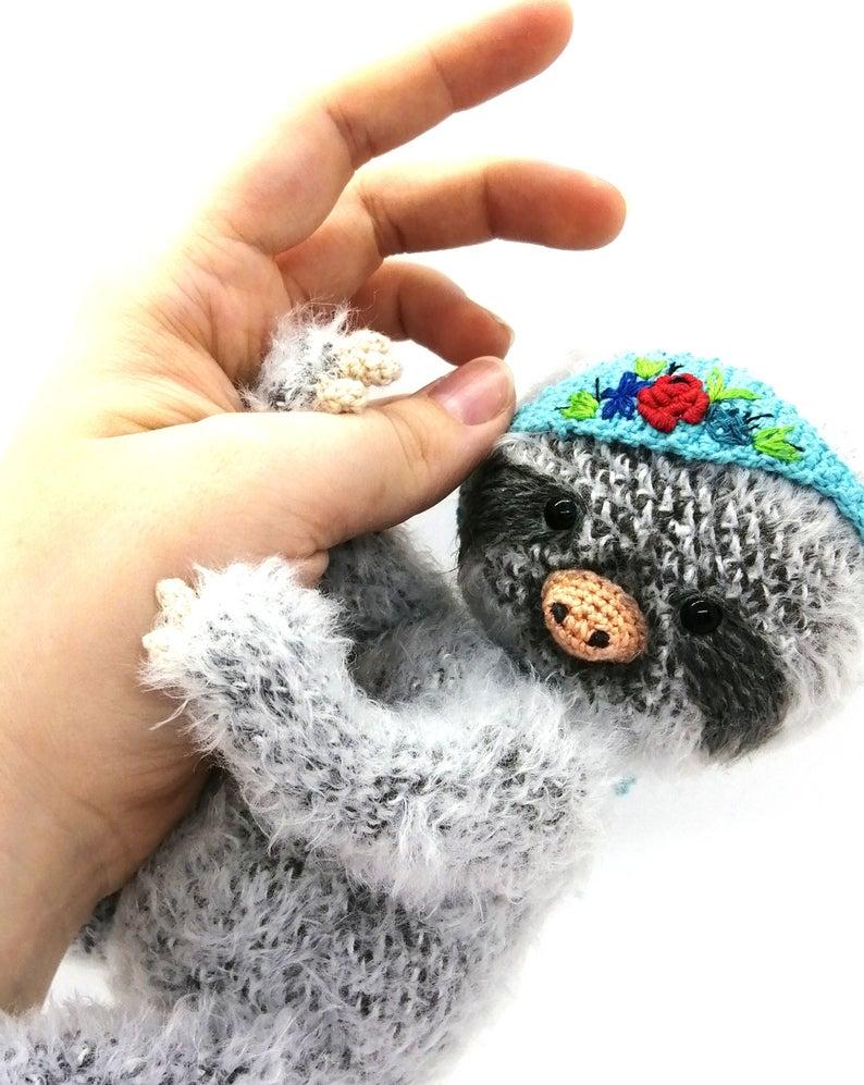 TOY baby SLOTH. Stuff animal birthday present. Kidsroom decor gray figurine. Baby shower gift. Chubby sloth. Stuffed animal storage #babysloth