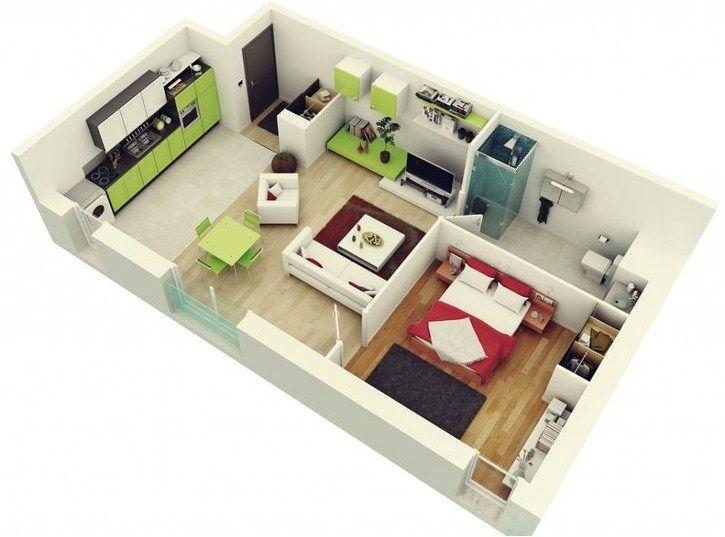 Plano de departamento moderno en 3 Planos Casa Pinterest