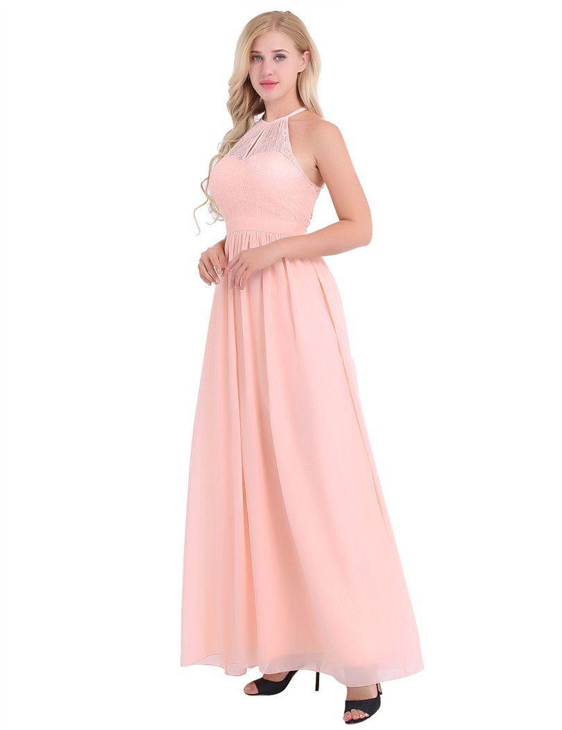 A Line Bridesmaid Dresses High Neckline Halter Lace Floral Sleeveless  Chiffon Elegant 7d732ef778a9