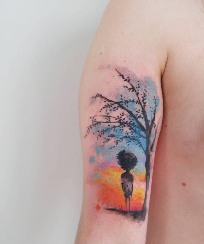 Tatuaje de estilo acuarela.