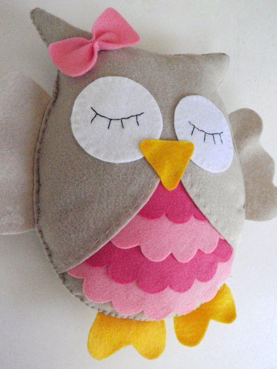 Pink Owl Stuffed Animal Felt Decor Nursery Baby