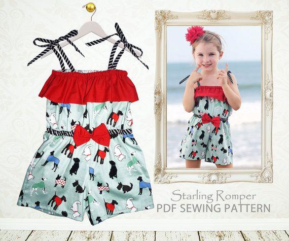 Childrens sewing pattern PDF, Girls sewing pattern, Girls Romper ...